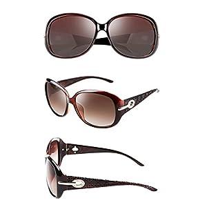 ATTCL Women Polarized UV400 Sunglasses Fashion Plaid Oversized Sunglasses 16214 Brown