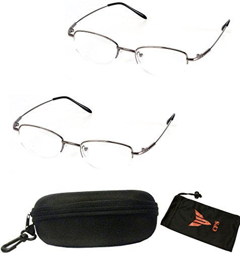 (#308 Slv) 2 Pairs Nearsighted Myopia Lens Oval Shape Metal Wired Optical Frameless Lightweight Glasses (Strength: - Optical Frameless Glasses