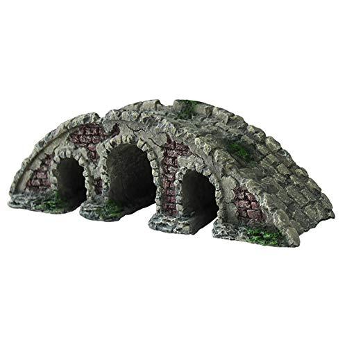 OMEM Reptile Decorations for Terrarium Stone Arch Bridge Hideout Landscaping Habitat Decor Aquarium Fish Tank Ornament
