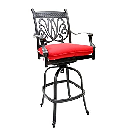 Awe Inspiring Amazon Com Patio Swivel Outdoor Bar Stool Cast Aluminum Squirreltailoven Fun Painted Chair Ideas Images Squirreltailovenorg