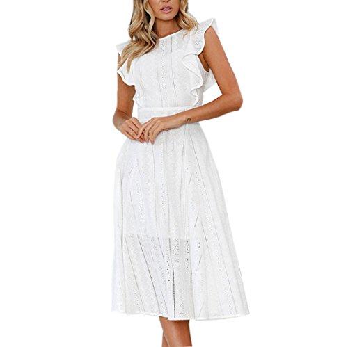 Kangma Women Summer Sexy Sleeveless Ruffled Zipper Irregular Lace Dress (Cotton Ruffled Halter Dress)