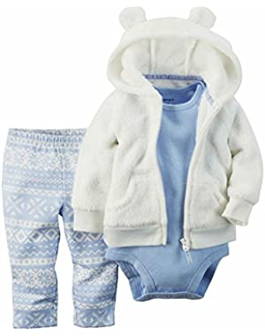 Carters Infant Girls 3 Piece Outfit White Hoodie Blue Nordic Leggings & Top