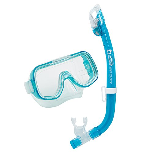 TUSA Sport Youth Mini-Kleio Mask and Dry Snorkel Combo, Clear Green