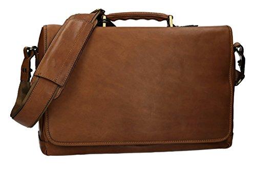 Cartella professionale borsa ufficio marrone in vera pelle con patta VH138