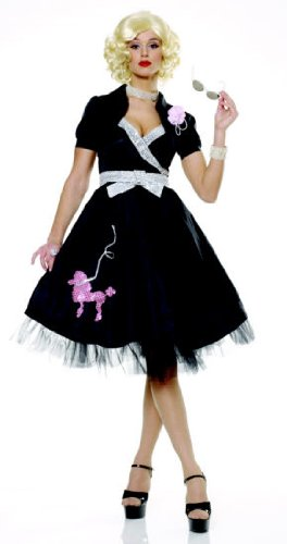 50s Halloween Costume 50s Diva (Womens Sm (4-6) Black Hop Diva Costume)