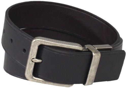 Calvin Klein Men's 38mm Feather Edge Semi Shine Belt, Black/Brown, (Black Feather Edge)