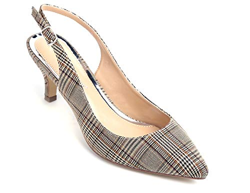 Greatonu Womens Slingback Dress Pump (7.5 US, Brown Grids)