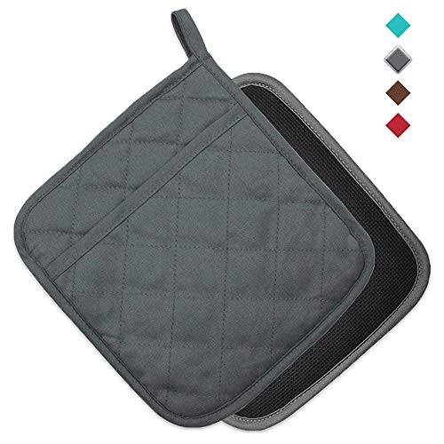 "YEKOO Cotton and Neoprene Oven Pot Holder with Pocket 8""x8.5"" Dual-Function Hot Pad Set for Finger Hand Wrist Protection Heat Resistant to 428°F Gray"