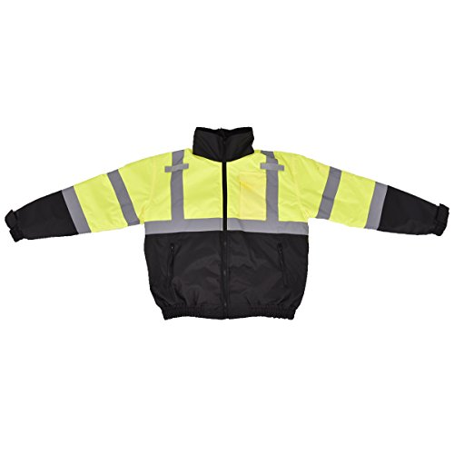 TANGKULA Winter Safety Jacket Hi-Vis Class 3 Hooded Bomber Reflective Coat Waterproof (XL) - Reflective Bomber