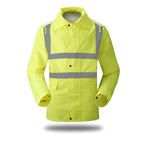 - XIAKE SAFETY Waterproof Raincoat Class 2 Hi-Vis Reflective Rain Jacket Zipper up Hooded with Pocket,Lightweight,Fluorescent Yellow (XL)