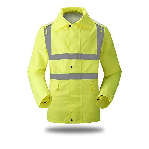 - XIAKE SAFETY Waterproof Raincoat Class 2 Hi-Vis Reflective Rain Jacket Zipper up Hooded with Pocket,Lightweight,Fluorescent Yellow (XL)