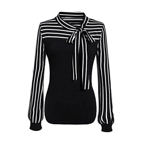 Syban Women Tie-Bow Neck Striped Long Sleeve Splicing Shirt Blouse (L, Black)