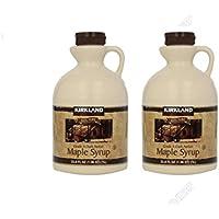 2 Bottles Kirkland Signature Canadian Maple Syrup - 1L (32 oz.) x 2 - Grade A Dark Amber