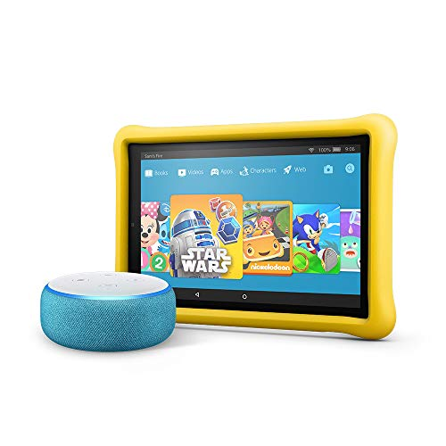 All-New Echo Dot Kids Edition, Blue with Fire HD 10 Kids Edition Tablet, Yellow