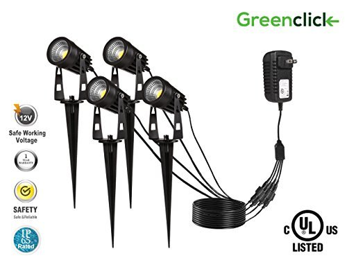 Upgrade LED Outdoor Spotlight,Greenclick 4 Pack 12V Low Voltage Landscape Lighting Warm White IP65 Waterproof Garden Lights with UL Listed Adapter … (spotlight) ()