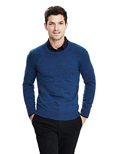 Sweater Men Banana Republic (Banana Republic Italian Merino Raglan Crewneck Sweater Color Blue Size Large)