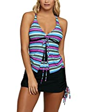 Sidefeel Women Printed Tankini with Skirtini Two Pieces Swimsuit Set