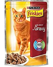 Purina Friskies with Beef in Gravy Cat Food Single Serve Pouch Pack of 20 Pieces, 100g