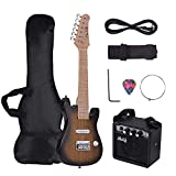 Festnight Muslady 28 Inch Kids Children ST Electric Guitar Kit Maple Neck Paulownia Body with Mini Amplifier Guitar Bag Strap Pick String Audio Cable Right-Handed Style
