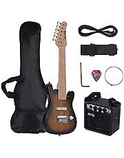 Kit de guitarra eléctrica ST de 71 cm para niños, cuerpo de Paulownia con cuello de arce con mini amplificador para guitarra, correa de púa, cable de audio para diestros