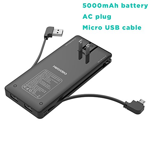 Heloideo Ultra Slim Dual USB Ports Power Bank with Built-in AC Adapter, Built-in Micro USB Cable for Samsung Galaxy and more Micro USB Input Devices, Work With iPhone Via USB Ports (Black)