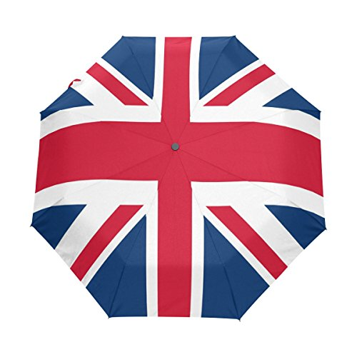 - WOZO Retro Union Jack British Flag 3 Folds Auto Open Close Umbrella