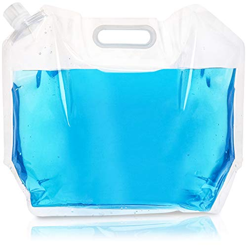 Juvale Collapsible Water Container - 4-Pack Foldable Plastic Water Bag Carrier, BPA Free, Portable Water Storage Tank Carriers for Camping, Outdoor, Hiking - Clear, 1.3 Gallons