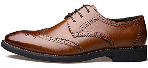Ppxid Heren Britse Carving Leer Vetrokken Zakelijke Brogue Schoenen Bruin