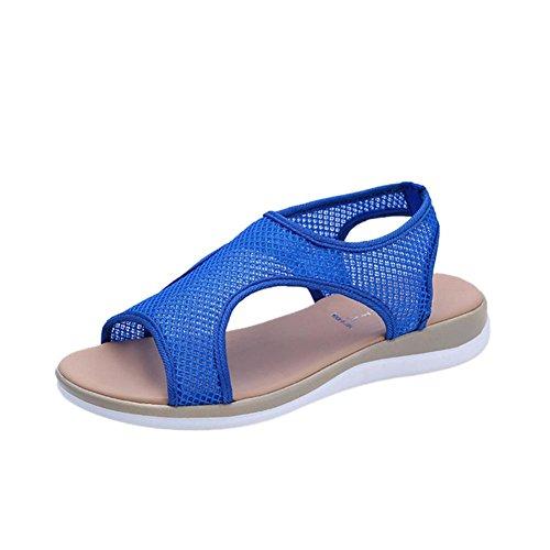 Ansenesna Sandalen Damen Sommer Flach Offen Romeinse Sommerschuhe Stoff Atmungsaktiv Strand Outdoor Schuhe Blau