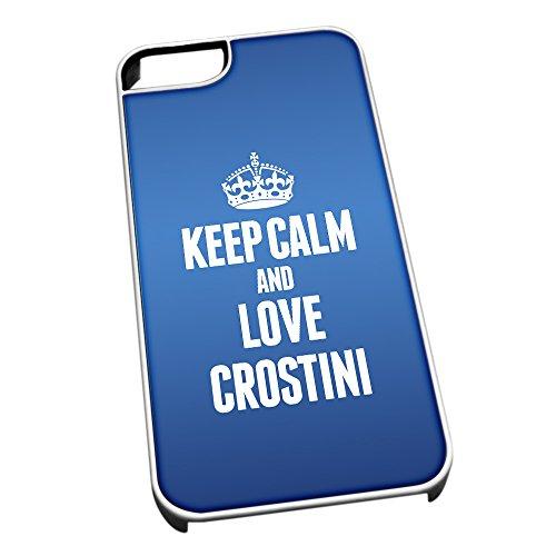 Bianco cover per iPhone 5/5S, blu 1017Keep Calm and Love crostini
