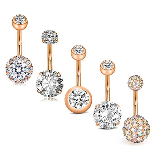 JFORYOU 5Pcs Belly Button Rings Stainless Steel 14G CZ Navel Rings Barbells Studs Women Girls Body Piercing Jewelry Rose Gold Crystal Belly Button Navel Ring
