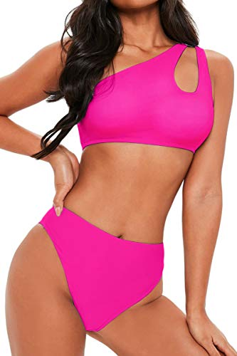 (FAFOFA Ladies High Waisted Bikini Set One Shoulder Push up Cutout Bandage Two Pieces Bathing Suit S Pink)