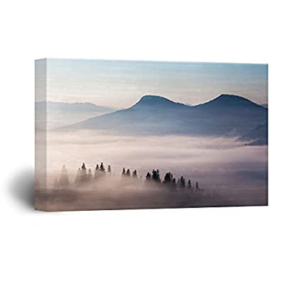Canvas Wall Art - Black Mountains with Fog at Sunset Time - Giclee Print Gallery Wrap Modern Home Art Ready to Hang - 24