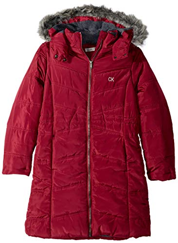 Calvin Klein Big Girls' Long Puffer Jacket, Aerial Red Berry, L12/14