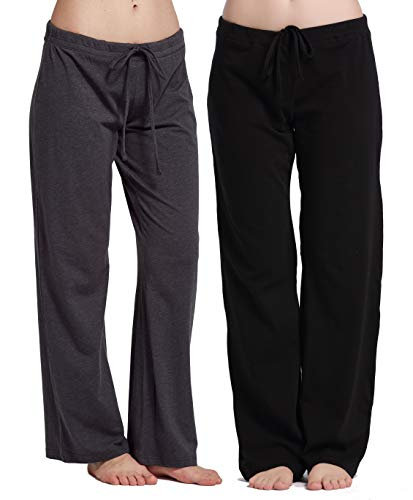 CYZ Women's Casual Stretch Cotton Pajama Pants Simple Lounge Pants-BlackCharcoal2PK-L