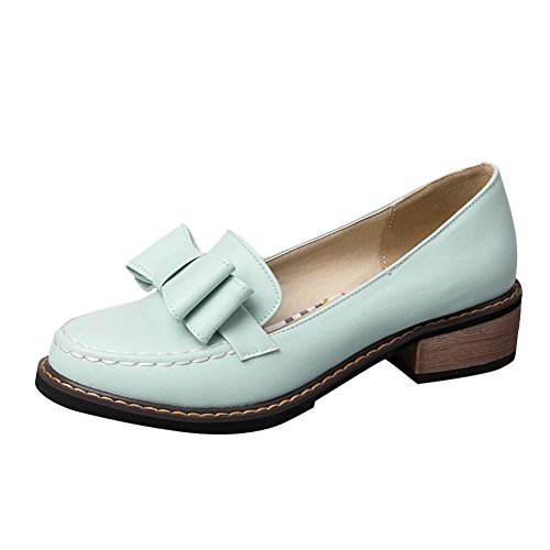 Carolbar Womens Bows Sweet Cute Low Heel Casual Dress Shoes Blue DYts83