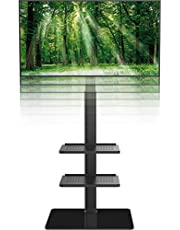 Soporte de Suelo con 3 Estantes,Giratorio y Altura Ajustablepara TV LCD LED OLED Plasma Plano 19-42 Pulgadas