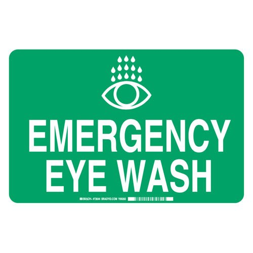 Brady 73644 Fiberglass''Emergency Eye WASH'' Sign, 10'' Height x 14'' Width, Green/White
