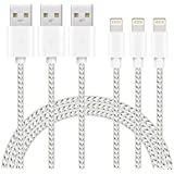KERWU Cable (3 Packs: 3FTx3) Nylon Braided USB Charger Cable Compatible with iPhone Xs X 8 7 6S 6 Plus iPad 2 3 4 Mini, iPad Pro Air and More,[Silver White]