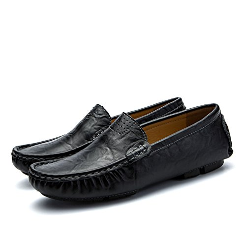 On Anguang Traspirante Loafers da Uomo Scarpe Barca Guida Pelle Slip Scarpe Nero Retro Mocassini da in PU PUq1P