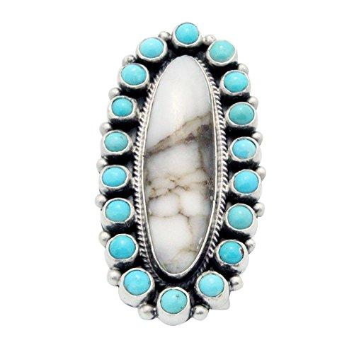 Donovan Cadman, Ring, Cluster, Wild Horse, Turquoise, Silver, Navajo made (Navajo Silver Turquoise Cluster)