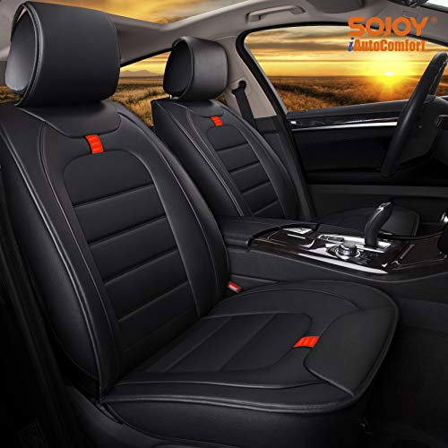 (Sojoy IsoTowel Universal Four Seasons Full Set of Car Seat Cushions Cover Advanced Leather Material (Carbon Black) )