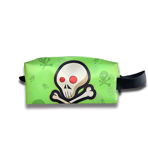 Cute Halloween Red Eye Death Sign Skeleton Multi-Function Key Purse Coin Cash Pencil Travel Makeup Toiletry Bag Box -