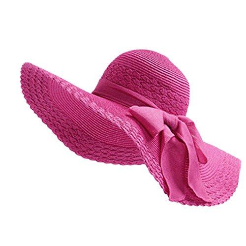 JUNGEN Floppy Chapeau Unisexe Wide Brim Chapeau De Soleil Fashion Voyage Chapeau de Plage idéal pour Vacances Nœud à Deux Boucles Dôme Rose Rouge 1 PCS