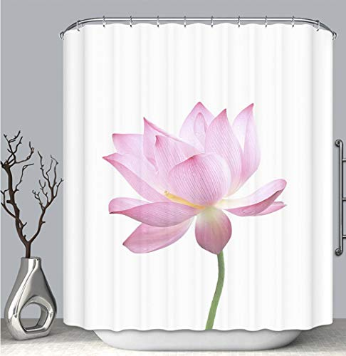 BEICICI Color Shower Curtain Liner Anti-Mildew Antibacterial, Close up of an Isolated Pink Bloomed Lotus Flower with stem_ Multi-Color,Custom Shower Curtain Bathtub Bathroom Accessories.