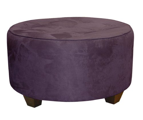 Clybourn Round Tufted Cocktail Ottoman by Skyline Furniture in Purple Micro-suede (Ottoman Bedroom Skyline)