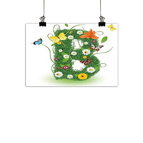 duommhome Letter B Abstract PaintingUppercase B Sign with Flourishing Daisies Exotic Garden Plants Butterflies Fresh Natural artMulticolor 35