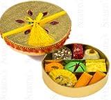 Sukhadia's Indian Sweets Gift Box, Festive Gold Round Badhai Pack, Premium Assorted Mithai, 12oz