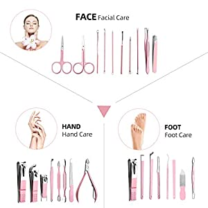 AUTENPOO 26 Pink Manicure Set & Pink Nail File Set