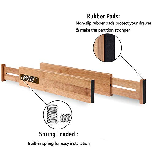 G-LEAF 6 Set Drawer Dividers Bamboo Adjustable Kitchen Drawers Organizer Divider by G-LEAF (Image #2)